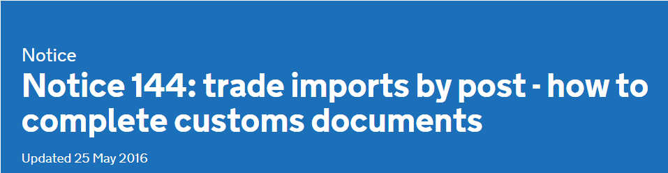 IMPORTING GOODS BY POST